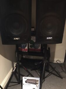 PA speakers & Pyle wireless microphone and stand