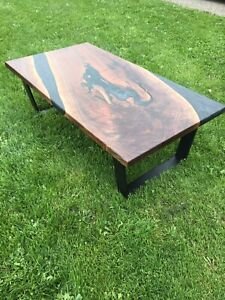 Custom live edge walnut river table