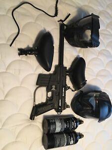 Paintball gun and masks