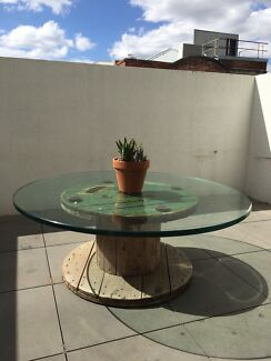 Large industrial cable reel coffee table w/heavy glass top outdoor