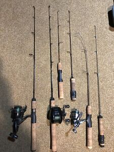 Ice fishing rods and reels.