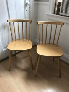 Pair of wood spindle back chairs