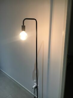 Industrial floor lamp with marble base