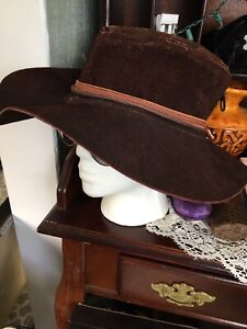 Vintage Suede Leather Handcrafted Western Style Hat