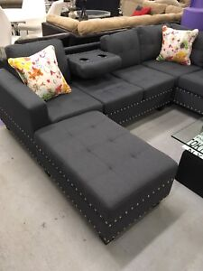 New!!!!! Grey fabric sectional sofa