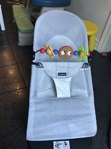 EUC - Baby Bjorn Mesh Bouncer - Silver - with wooden toy bar