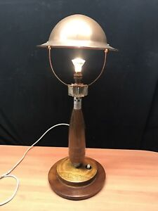 1969 US Military Trench Art BOMB LAMP Helmet Army Missile Light