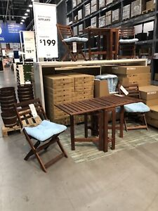 Bistro set with folded table (cushions not included )