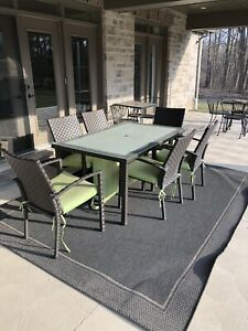 Outdoor table with six chairs.