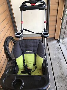 Sit and stand stroller, carseat and base