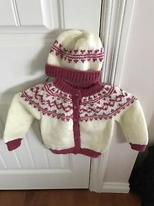 Brand New Hand Knitted Sweater and Toque for 3 year old - $35