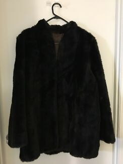 Ladies Black Fur Coat - Jacket - Made by Otex Melbourne. Size 18