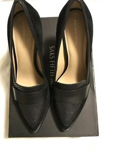 Saks Fifth Avenue Suede and Leather Block Heel Pumps