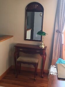 Bombay side table, bench, mirror and banker lamp