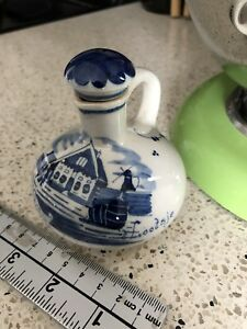 VINTAGE delft BOLS ceramic decanter Holland handpainted