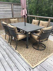 Patio Set with Table, umbrella, 2 Swivel chairs l