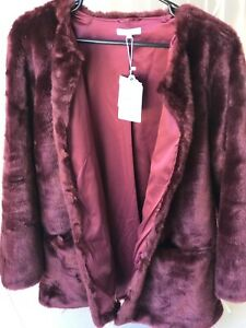 NEW NEVER WORN BLUE ILLUSION FAUX FUR COAT