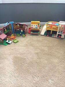 Antiques Fisher Price Register, House & Garage Toys