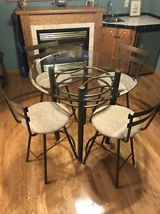Glass Top Table & Swivel Chair Set