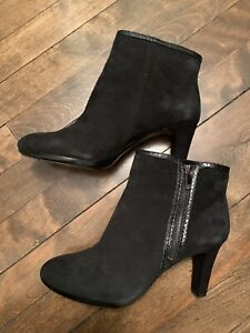 Anne Klein Black Swede Ankle Boots