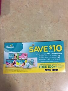 Pampers coupons buy with 2 $10 off
