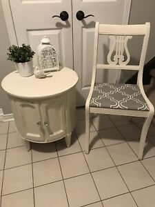 Solid wood refinished shabby chic table and chair