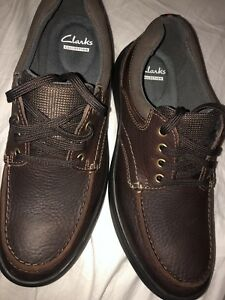 Clark's brown oily leather new cotrell edge men ortholite