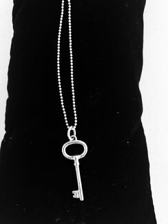 Tiffany & Co Key Pendant with Stirling Silver Ball Chain.