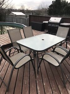 Patio table and 6 chairs