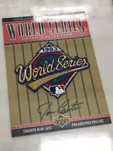 World Series patch autographed by joe carter