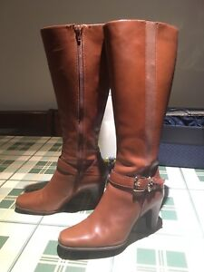 Leather and suede boots shoes: size 6.5