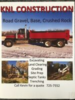 Gravel, excavation, land clearing, grading