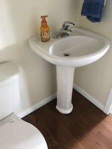 "24"" pedestal sink with toilet"