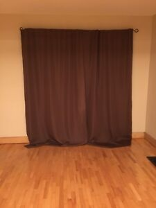 Brown blackout window drapes / curtains
