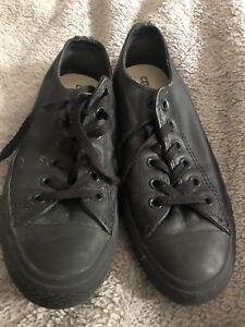 Converse black leather. Hardly worn School shoes Men s 6.5 w 8.5 ... 39b68836d