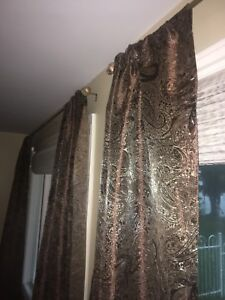 Window curtains with rod.