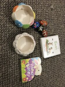Easter children's board books, pysanky and vases