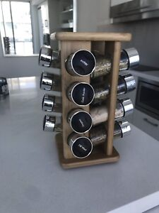 Wooden rotating spice rack (Comes with 16 spice containers)
