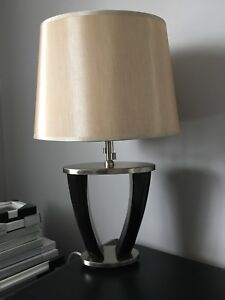 Stunning masculine table lamp - stainless and espresso colour