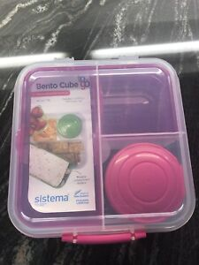 Brand new Bento cube lunch snack food container kit!