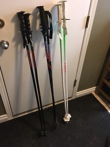 3 pairs of ski poles 120cm, 120cm and 125cm