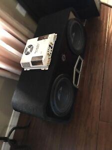 ^** ALPINE SUBS IN BASSWORX BOX WITH PHEONIX GOLD AMP!!!