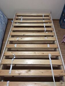 Twin wood bedframe with underneath storage