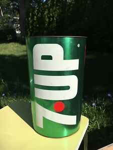 Iconic vintage 7up metal garbage can