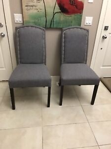 4 grey fabric dining chairs