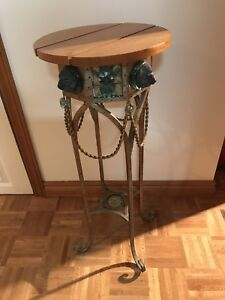 Palma Brava Wood and Wrought Iron Plant/Flower Stand