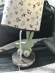 Baby crib set, blankets, bumpers, baskets, sheets, lamp, mobile