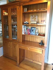 Beautiful cabinet with leaded glass and desk. NEW PRICE