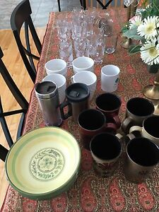 Dishes, cups and glassware for sale