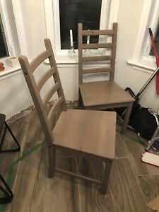 2 large wood dining chairs